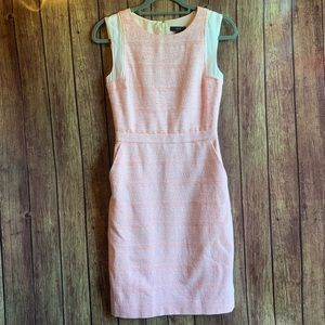 J Crew Pink Tweed Sheath Dress with Pockets